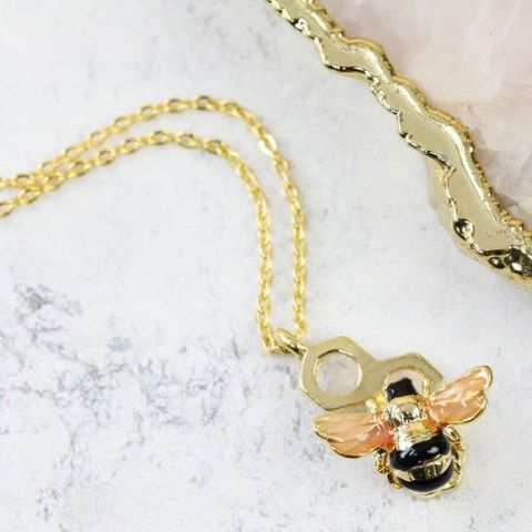 HONEYCOMB BUMBLEBEE NECKLACE